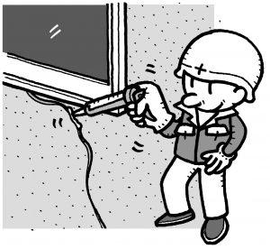 コーキングガンでの作業イメージ