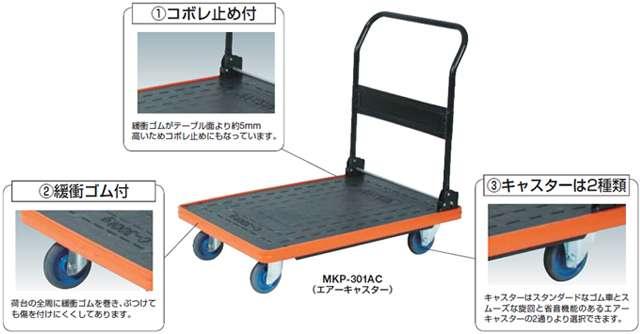 トラスコ MKP 樹脂製運搬車(折りたたみハンドルタイプ・コボレ止め付)