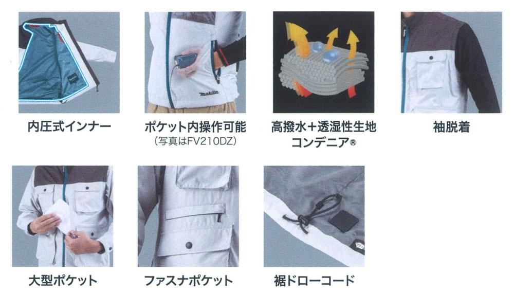 マキタ 充電式ファンジャケット 【ポリ100% 高はっ水 高透湿】 (※付属品別売) FJ218DZ9